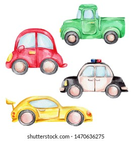 Watercolor hand draw illustration set with cartoon cars - red, yellow, green and police car; children illustrartiuon; with white isolated background