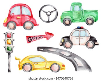 Watercolor hand draw illustration set with cartoon cars - red, yellow, green and police car, steering wheel, traffic light, road and red arrow; children illustration; with white isolated background