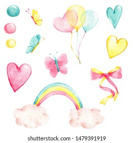 Watercolor hand draw illustration set with creative rainbow, pastel balloons, pink, yellow and blue hearts, circles, cute butterflies, pink and yellow ribbon (bow); with white isolated background