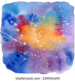 Watercolor hand draw illustration space and white stars; cen be used as background for cards and invitation