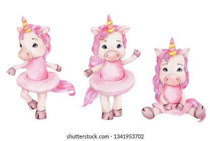 Watercolor hand draw illustration with three cute ballerinas unicorns in pink skirts; children illustration; with white isolated background