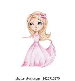 Watercolor hand draw illustration with virgo girl; cute princess in pink dress; author's series of zodiac signs; with white isolated background