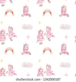 Watercolor hand draw seamless pattern with cute ballerinas unicorns in pink skirts, rainbow, cloud, yellow and purple stars