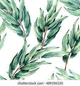 watercolor hand draw seamless pattern with eucalyptus leaves. For design, textile and background.