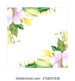 Watercolor hand drawing frame, floral corner for invitations, cards, backgrounds. Spring and summer flowers.