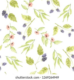 Watercolor hand drawing pattern for beautifull summer fabric, background and wrapping paper. Seamless pattern.