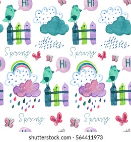 Watercolor hand drawing pattern with spring elements, rabbits, clouds, rainbows, rain drops,  birds on the  fence, butterflies and tree.
