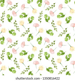 Watercolor hand drawing seamless pattern. Flowers and leaves for background, fabric, stationary.