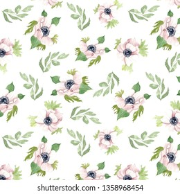 Watercolor hand drawing seamless pattern. Spring and summer flowers for background, wrappong paper or textile.