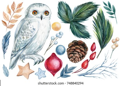 watercolor, hand drawing, set of watercolor Christmas elements, balls, spruce branches, dry leaves, wild rose berries, a star, white owl, cone