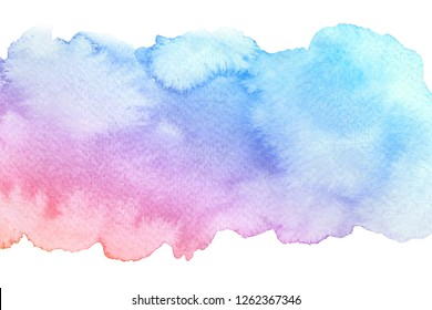 Watercolor hand drawn abstract artistic brush stroke with strains isolated on white background. Blue red gradient watercolour fill.