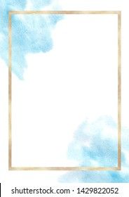 Watercolor hand drawn abstract blue texture and geometric gold frame with space for text . Good for invitation, card, poster