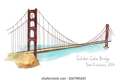 Watercolor Hand drawn architecture sketch illustration of Golden Gate Bridge, San Francisco CA USA with lettering isolated on white