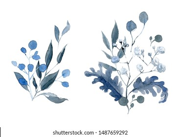 Watercolor hand drawn arrangements. Blue and black bouquet. Only leaves compossition