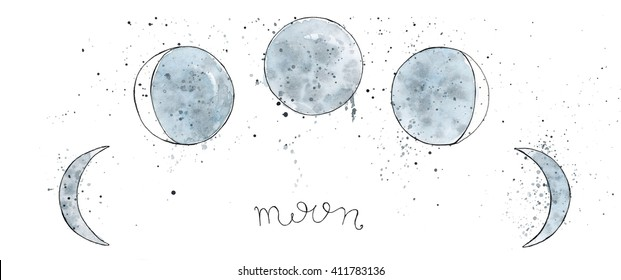Watercolor hand drawn art sketch of  Moon phases with blots. Lettering Moon