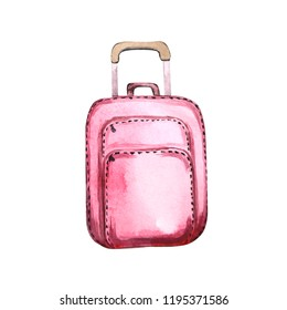 Watercolor hand drawn baggage. Pink suitcase isolated on white background. Big bag for design template, invitation, gift wrap, greeting card, DIY artwork, logo