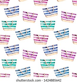 Watercolor hand drawn beach holiday bag illustration seamless pattern on white background
