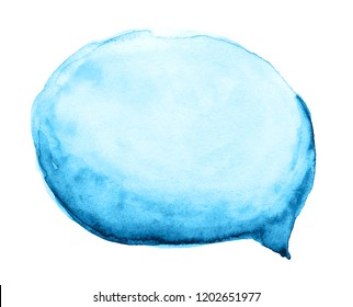 Watercolor hand drawn blue cloud, speech bubble isolated on white background.