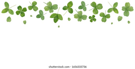Watercolor hand drawn border with green leaves of clover isolated on white background. Card with copy space, good for st Patrick's day design etc.