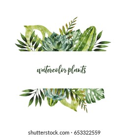 Watercolor hand drawn border with tropical plants and flowers