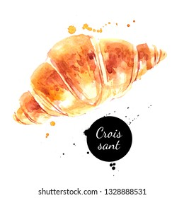 Watercolor hand drawn breakfast illustration of croissant. Painted sketch food isolated on white background