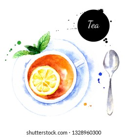 Watercolor hand drawn breakfast illustration of tea cup with lemon and mint. Painted sketch food isolated on white background