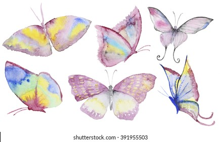 Watercolor hand drawn butterflies collection. Hand painted watercolor butterfly in Hires. Multicolored in different style. Perfect for wedding invitations, greeting cards, quotes, blogs, posters and