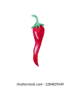 Watercolor hand drawn chili pepper isolated on white background