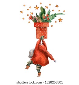 Watercolor hand drawn Christmas card. Cute standing Santa Claus. Happy new year illustration. Christmas  fun costume character. Holiday traditional items. Season picture. Red hat. Dancing character.