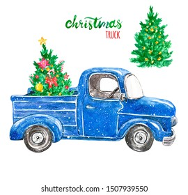 Watercolor hand drawn Christmas truck and festive fir tree with ornaments. Vintage blue car in cartoon style, isolated on white background. Winter time illustration with snow for holiday greeting.
