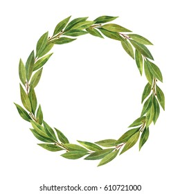 Watercolor hand drawn circle frame Bay leaf isolated on white background. Organic products for the design of healthy food, kitchen, market, menu, textiles.