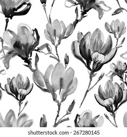 watercolor hand drawn colorful flowers seamless pattern. magnolia flowers.
