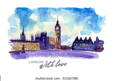 Watercolor hand drawn colorful illustration of London city view. Architecture tower touristic sightseeings. Good for warm memory postcard design, book or article illustration.