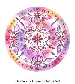 Watercolor hand drawn decorative mandala.  Us for postcard, card, invitations, print for t-shirts.
