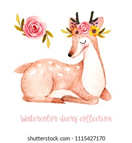Watercolor hand drawn deer with flowers