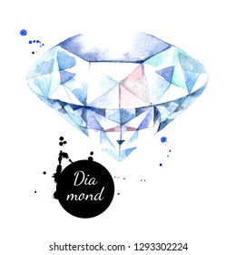 Watercolor hand drawn diamond gemstone crystal mineral illustration. Painted sketch isolated on white background