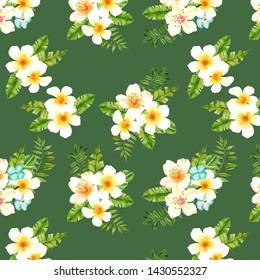 Watercolor hand drawn exotic summer leaves and flovers illustration seamless pattern on green background