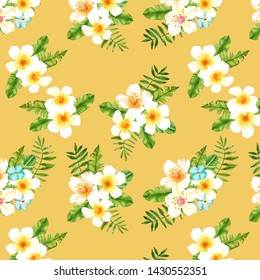 Watercolor hand drawn exotic summer leaves and flovers illustration seamless pattern on yellow background