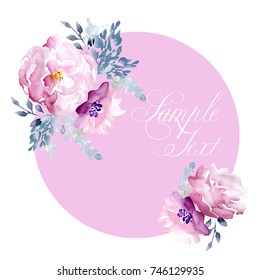 Watercolor Hand Drawn Floral Frame Template - Shutterstock ID 746129935