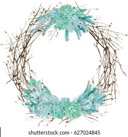 Watercolor hand drawn floral wreath with succulents, dusty miller, spruce, twigs and eucalyptus. Round watercolor frame. Watercolor hand painted border. Silver winter floristic composition.