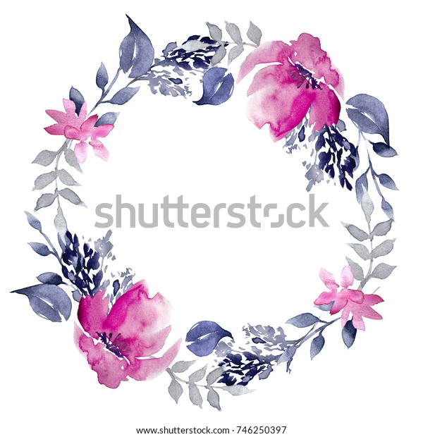 Watercolor Hand Drawn Floral Wreath