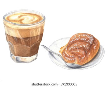 Watercolor hand drawn glass of coffee with bun, italian breakfast with cappuccino, food design, illustration on white background.