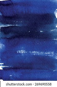 Watercolor hand drawn grange background in indigo and ultramarine colors.