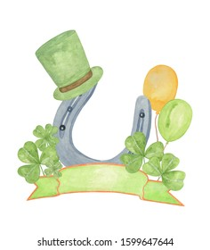 Watercolor hand drawn holiday composition, symbolic decoration for a national spring Irish holiday St Patrick's day, horseshow, green shamrock leaves, balloons, top hat, ribbon with space for the text