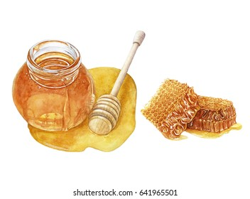Watercolor hand drawn honey jar with fresh honey, honeycomb isolated on white background.