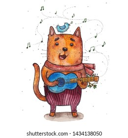 Watercolor hand drawn illustration of the artistic looking singing cat playing the blue guitar and light blue bird on his head.