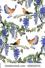 Watercolor hand drawn illustration with blue wisteria tree and birds. Seamless pattern
