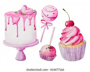 Watercolor hand drawn illustration. Cake, cupcake, candy isolated on a white