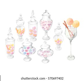Watercolor hand drawn illustration.  Candy and candy jar isolated on a white background. Delicious sweet buffet. Sweet holiday buffet with candy. watercolor candy jar