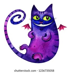 Watercolor hand drawn illustration of Cheshire Cat isolated on white background.